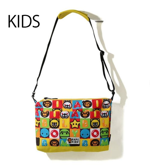 A BATHING APE BAPE KIDS MILO FRIENDS BLOCK CROSSBODY BAG