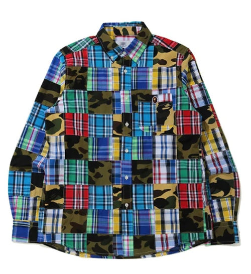 A BATHING APE PATCHWORK BD SHIRT