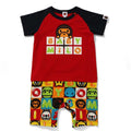 A BATHING APE BAPE KIDS MILO FRIENDS BLOCK ROMPERS BABY