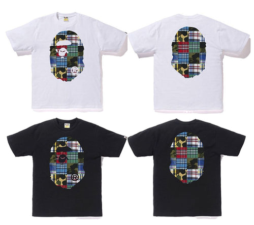 A BATHING APE PATCHWORK BIG APE HEAD TEE - happyjagabee store