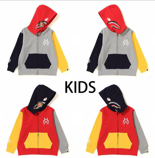 A BATHING APE KIDS CRAZY MILO SHARK ZIP HOODIE