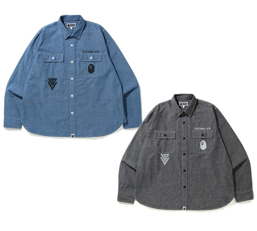 A BATHING APE CHAMBRAY RELAXED SHIRT