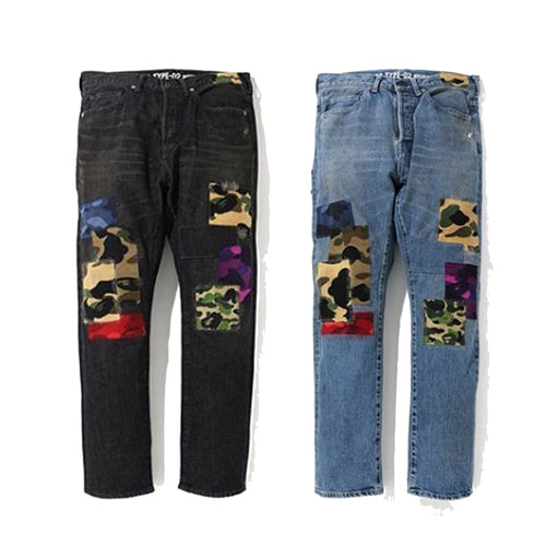 A BATHING APE 1999 TYPE-02 PATCH WORK DAMAGED DENIM PANTS - happyjagabee store