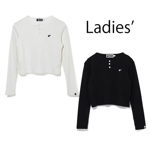 A BATHING APE Ladies' STA HENRY NECK RIB L/S TEE