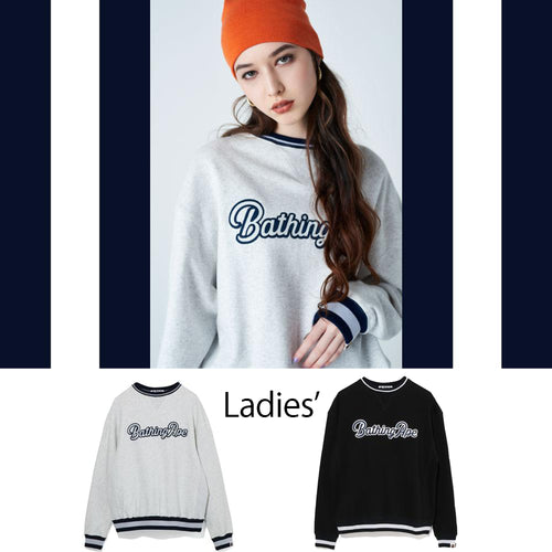 A BATHING APE Ladies' APPLIQUE WIDE CREWNECK