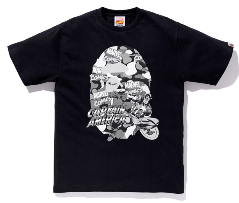 A BATHING APE BAPE x MARVEL CAMO CAPTAIN AMERICA EX TEE Limited Edition - happyjagabee store