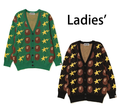 A BATHING APE LADIES' APE HEAD AND STA KNIT CARDIGAN - happyjagabee store