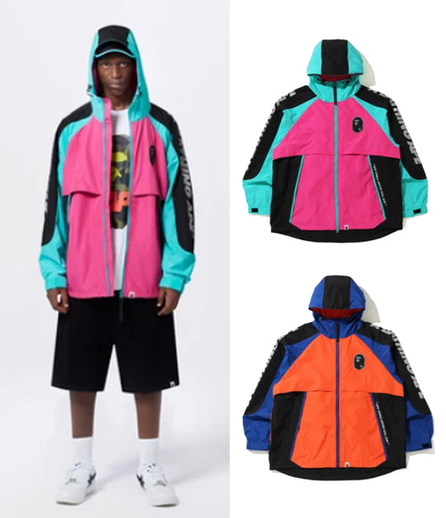 A BATHING APE COLOR BLOCK POCKETABLE NYLON WINDBREAKER