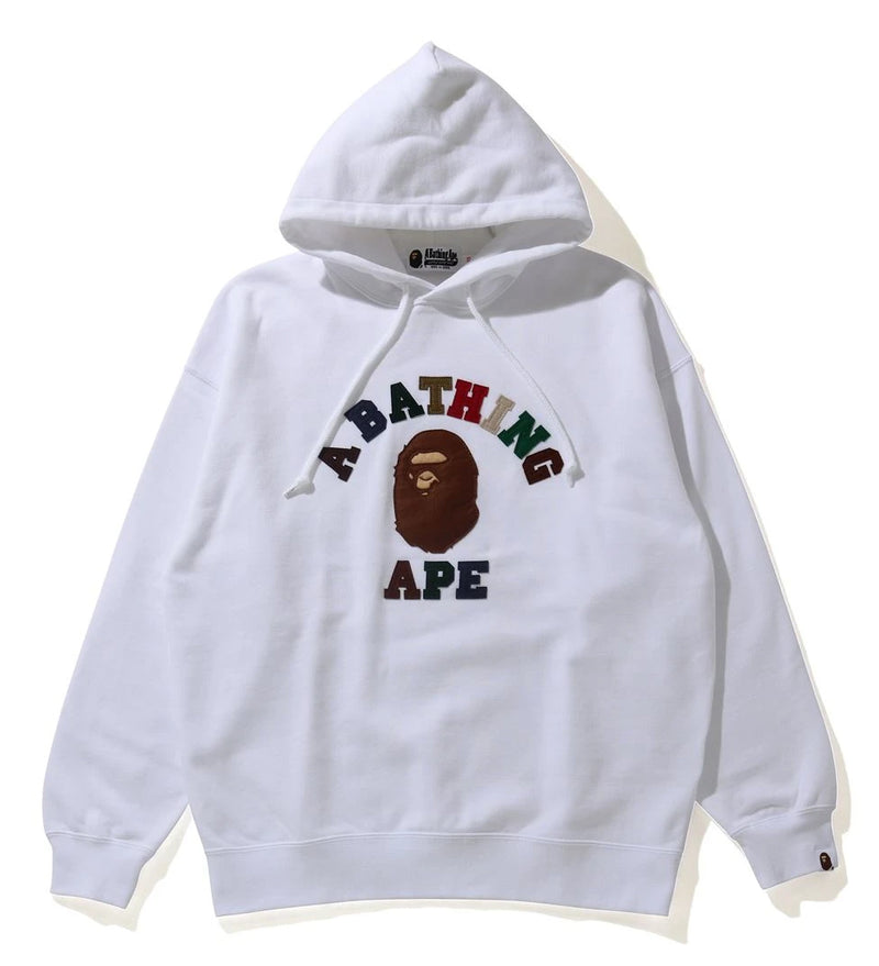 A BATHING APE Ladies' COLLEGE APPLIQUE OVERSIZED PULLOVER HOODIE