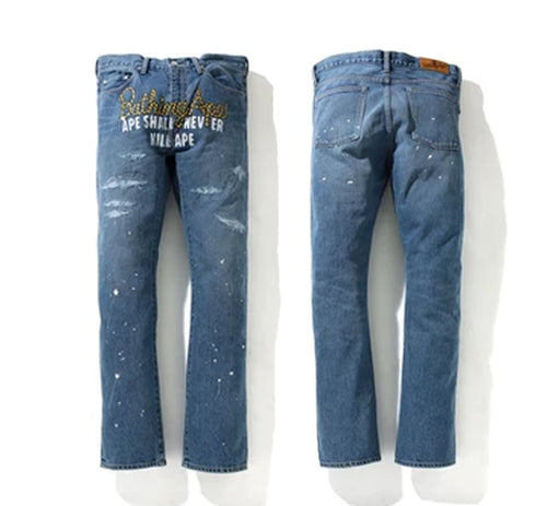 A BATHING APE TYPE-05 DRIP DENIM PANTS