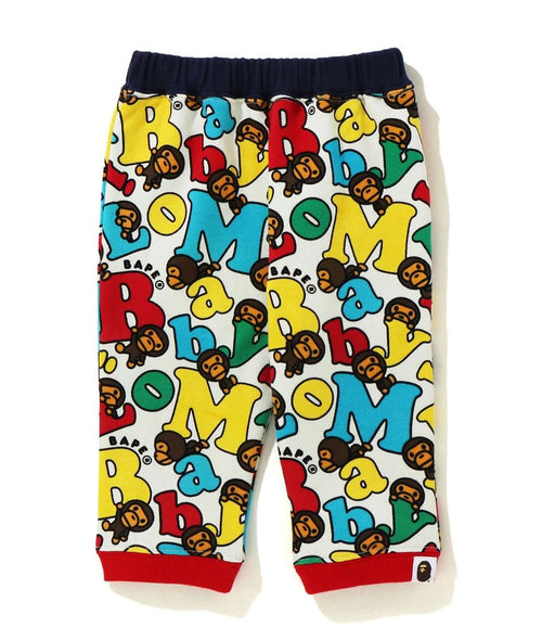 A BATHING APE BAPE KIDS BABY MILO ALPHABET BABY PANTS