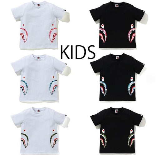 A BATHING APE BAPE KIDS ABC CAMO SIDE SHARK TEE