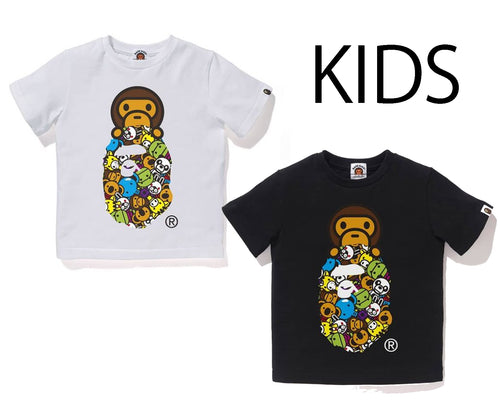 A BATHING APE BAPE KIDS MILO ALL FRIENDS MILO APE HEAD TEE