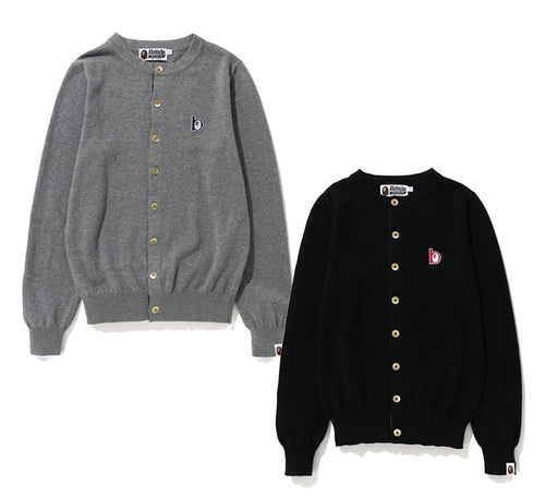 "A BATHING APE LADIES' BAPE ""b"" COLLECTION APE HEAD b PATCH KNIT CARDIGAN - happyjagabee store"