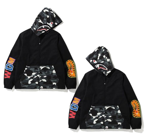 A BATHING APE CITY CAMO SHARK HOODIE JACKET - happyjagabee store