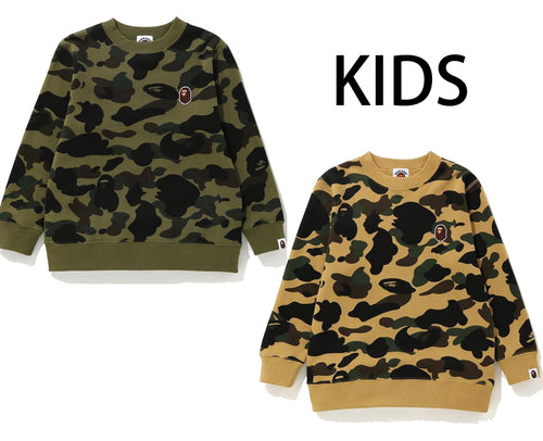 A BATHING APE KIDS 1ST CAMO CREWNECK