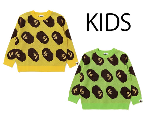 A BATHING APE BAPE KIDS APE HEAD KNIT