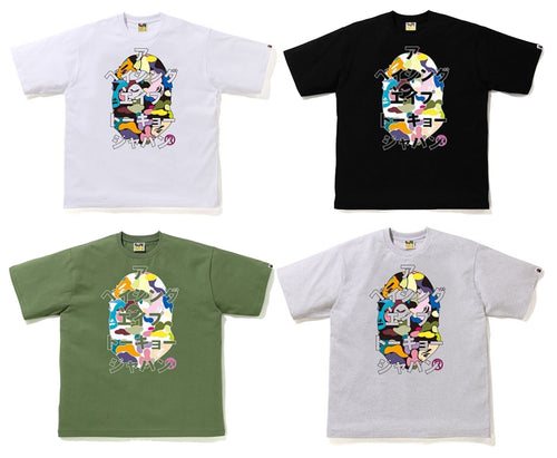 A BATHING APE MULTI CAMO BAPE JAPANESE LETTERS RELAX TEE