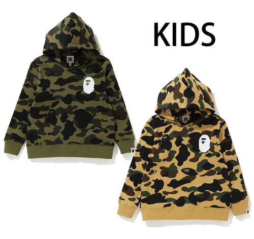 A BATHING APE KIDS 1ST CAMO APE HEAD PULLOVER HOODIE - happyjagabee store