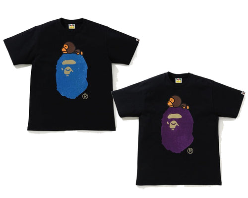A BATHING APE GLITTER MILO ON BIG APE HEAD TEE