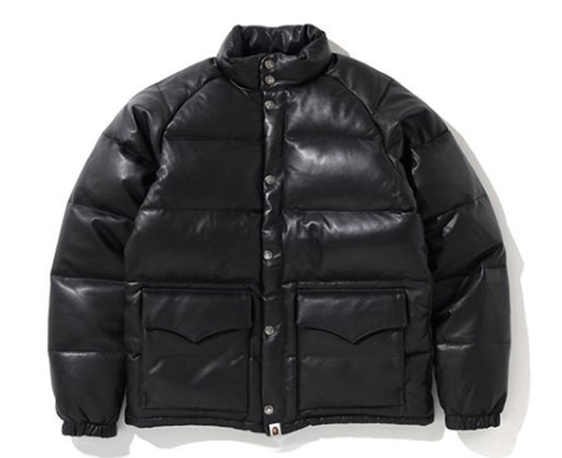 A BATHING APE LEATHER CLASSIC DOWN JACKET - happyjagabee store