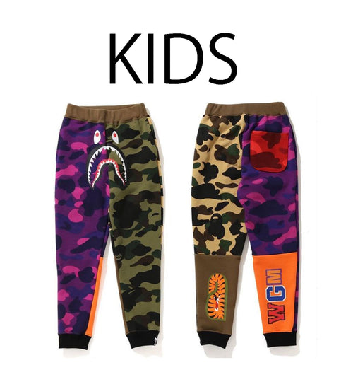 A BATHING APE BAPE KIDS CRAZY CAMO SHARK SLIM SWEAT PANTS