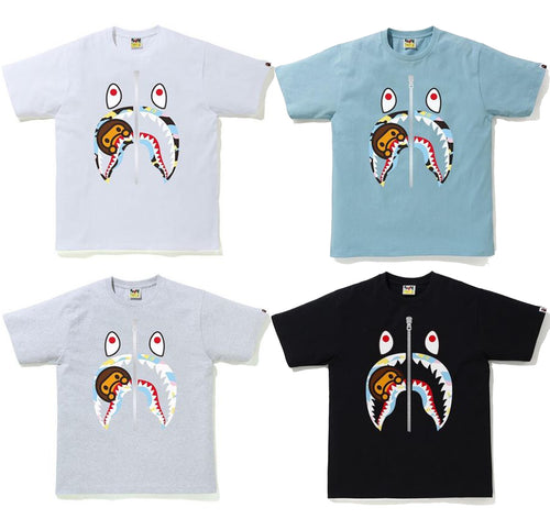 A BATHING APE NEW MULTI CAMO MILO SHARK TEE
