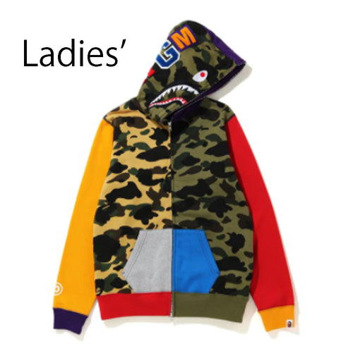 A BATHING APE Ladies' 1ST CAMO CRAZY SHARK FULL ZIP HOODIE