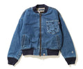 A BATHING APE LADIES' DENIM BOMBER JACKET - happyjagabee store