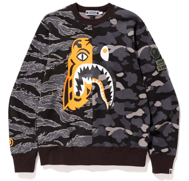 A BATHING APE BAPE x UNDEFEATED UNDFTD TIGER SHARK HALF CREWNECK - happyjagabee store