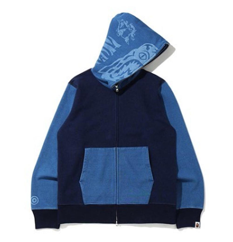 A BATHING APE INDIGO TIGER SHARK FULL ZIP HOODIE - happyjagabee store