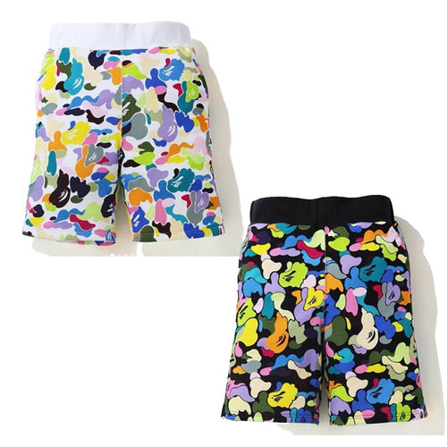 A BATHING APE MULTI CAMO SWEAT SHORTS