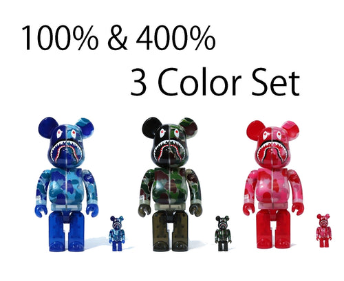 A BATHING APE CLEAR ABC CAMO SHARK BE@RBRICK BEARBRICK 100%&400% 3color SET