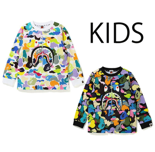 A BATHING APE BAPE KIDS MULTI CAMO SHARK L/S TEE