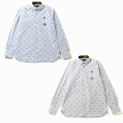 A BATHING APE Mr. BATHING MR PATTERN OXFORD STRIPE BD SHIRT - happyjagabee store