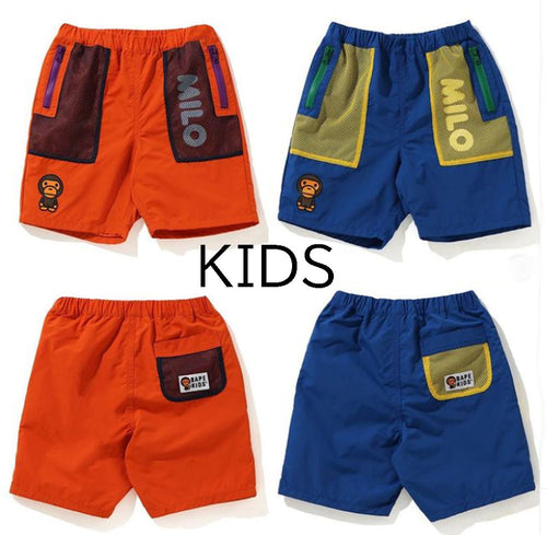 A BATHING APE BAPE KIDS POCKET MESH SHORTS