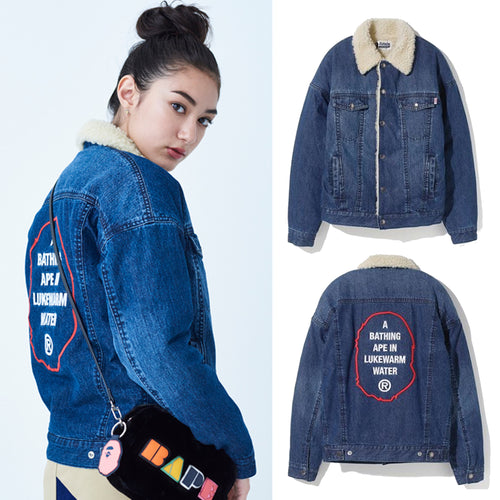 A BATHING APE LADIES' BOA DENIM JACKET