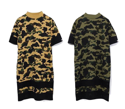 A BATHING APE Ladies' 1ST CAMO MOCK NECK TEE ONEPIECE