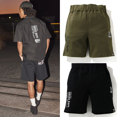 A BATHING APE URSUS CAMO POCKET SWEAT SHORTS