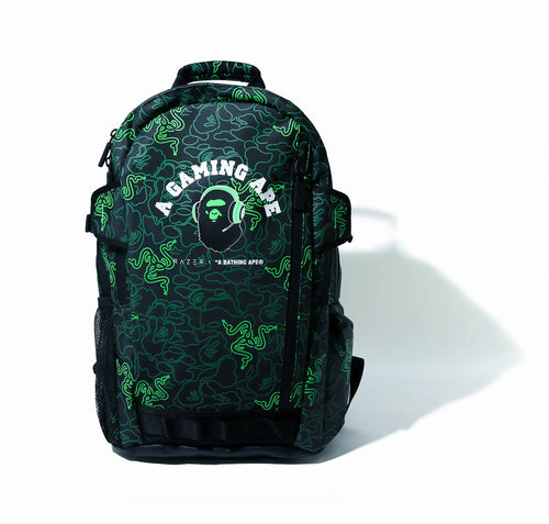 A BATHING APE x RAZER NEON CAMO BACKPACK