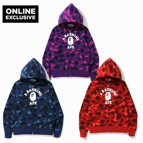ONLINE EXCLUSIVE A BATHING APE COLOR CAMO COLLEGE FULL ZIP HOODIE