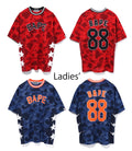 A BATHING APE LADIES' COLOR CAMO BASKETBALL OVERSIZED TEE - happyjagabee store
