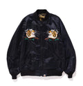 A BATHING APE TIGER EMBROIDERY REVERSIBLE LIGHT BOMBER JACKET - happyjagabee store