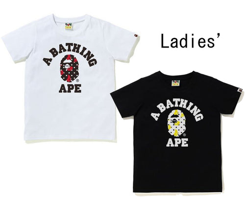 A BATHING APE Ladies' BAPE DOT COLLEGE TEE