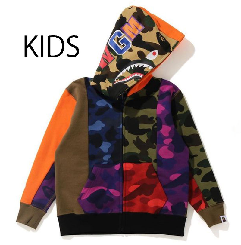 A BATHING APE BAPE KIDS CRAZY CAMO SHARK ZIP HOODIE