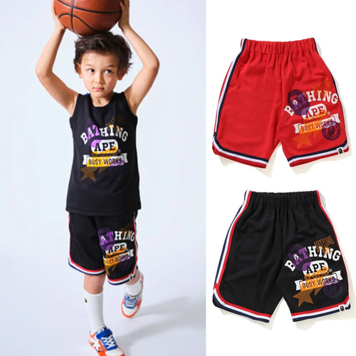 A BATHING APE BAPE KIDS MULTI PRINT BASKETBALL SHORTS