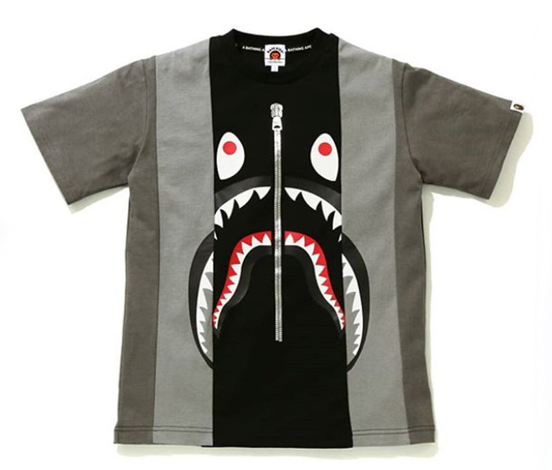 A BATHING APE BAPE KIDS SHARK COLOR BLOCK TEE