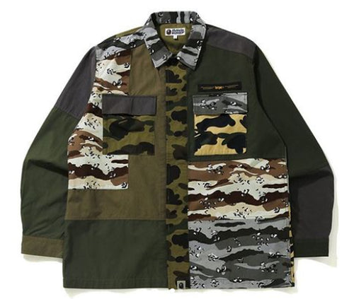A BATHING APE CRAZY CAMO RELAXED MILITARY SHIRT