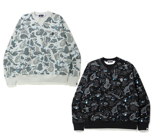 A BATHING APE RELAXED SPACE CAMO CREWNECK