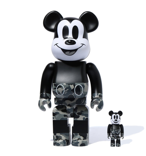 BE@RBRICK BAPE MICKEY MOUSE MONOTONE Ver. 100% & 400%